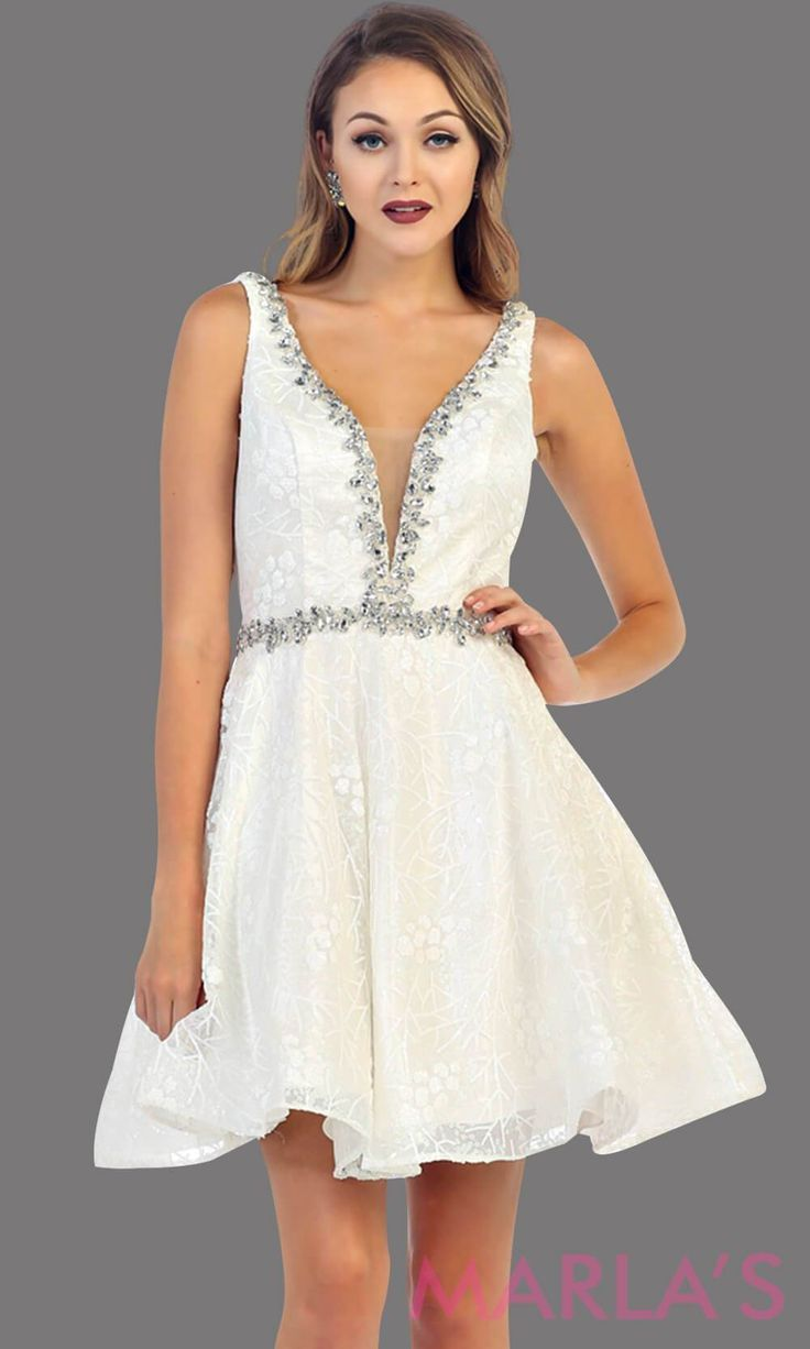 ec95912fe4 7438-Short white dress with deep V neck and back. This is a perfect grade 8  grad dress