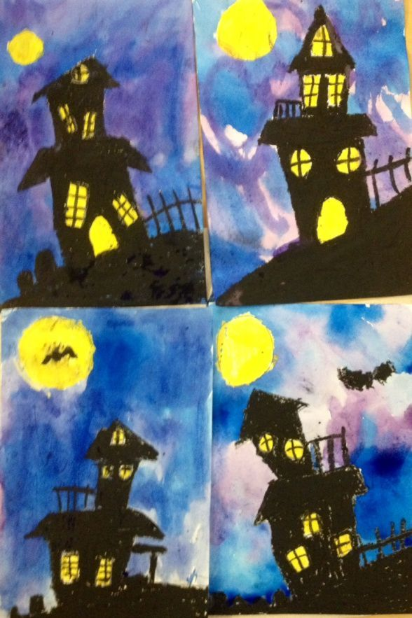 art teacher in la k 6th grade art lessons 5th grade spooky houses - Preschool Halloween Art Projects