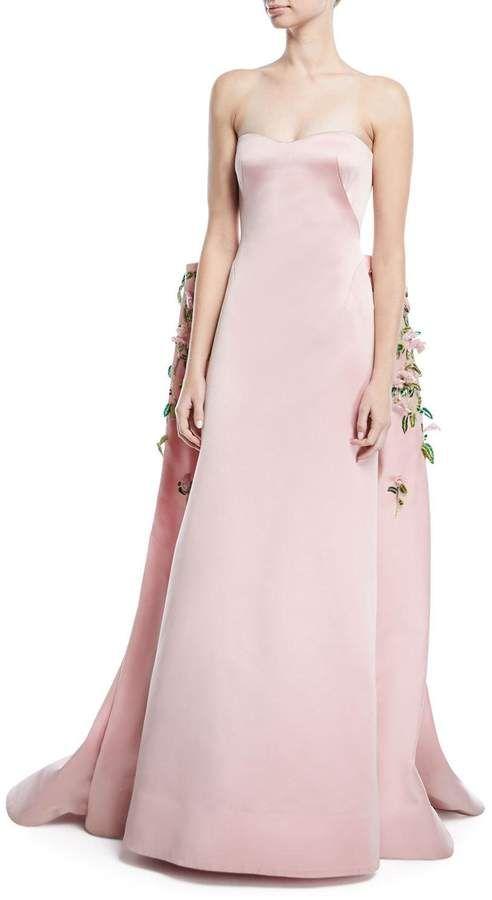 8b252706e68 Zac Posen Strapless Duchess Satin Evening Gown with Floral-Vine Embroidery   shopstyle  zacposen