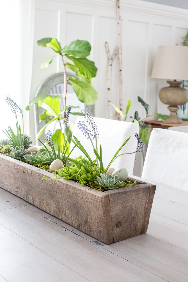Craftberry Bush | Magnolia Market Wooden Trough Succulent Centerpiece | http://www.craftberrybush.com