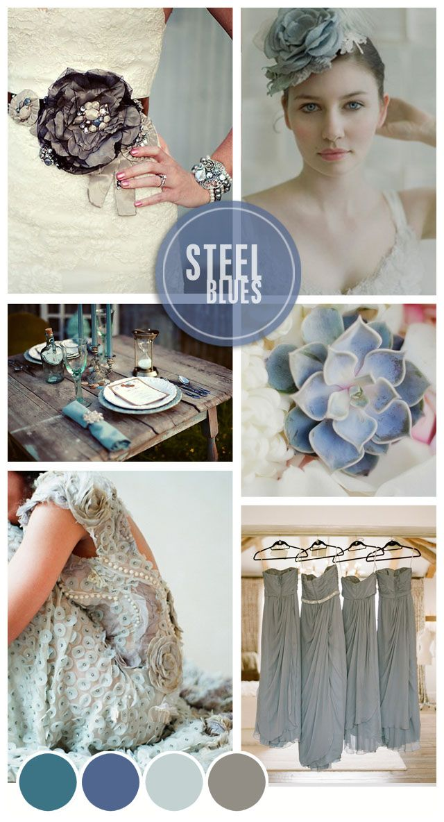 This, but pops of orange and yellow. Steel Blues Wedding Inspiration | Mood Board