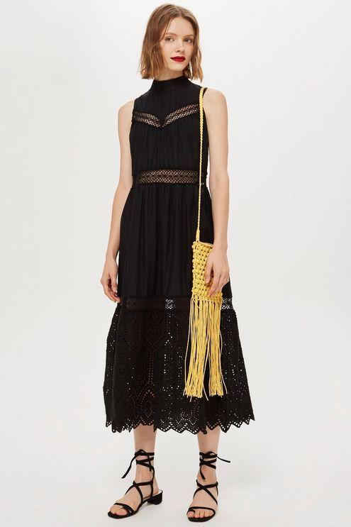 59b92345da Sleeveless Broderie Midi Dress - Dresses - Clothing ...