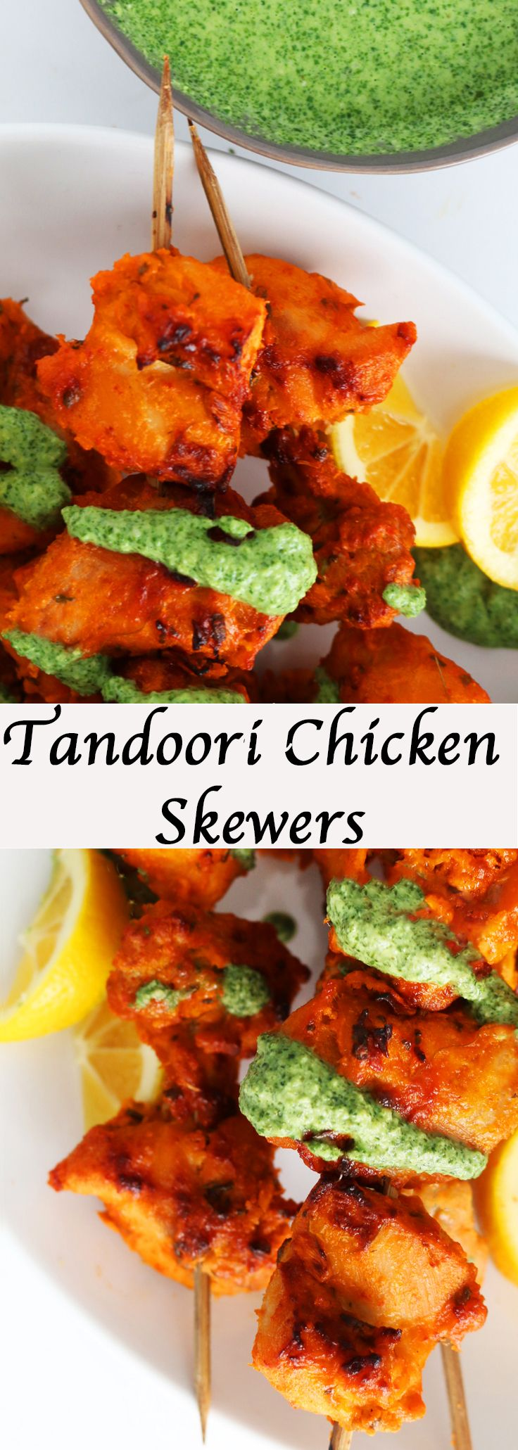 Broiled Tandoori Chicken Skewers with Cashew Mint Chutney #Indian #Indianrecipe #Spicy #chicken #appetizer #DINNER #lunch #party  http://www.kitchenathoskins.com/2017/03/13/tandoori-chicken-skewers-with-cashew-mint-chutney/