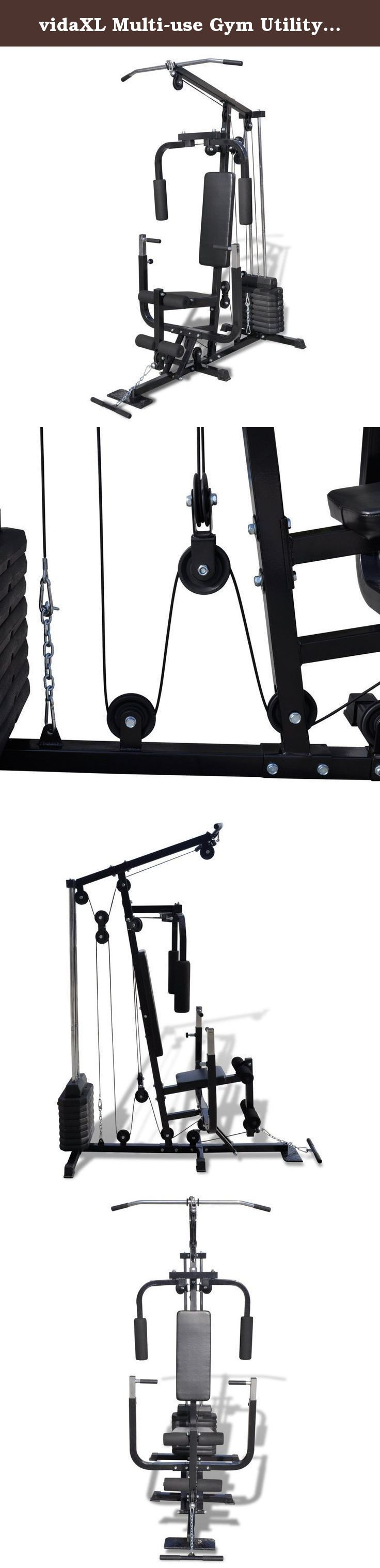 vidaXL Multi-use Gym Utility Fitness Machine. This home gym enables you to do a whole body workout at home and is a great choice for exercise lovers. It will improve your physical fitness, tone your muscle and in conjunction with a calorie controlled diet help you lose weight. This multi gym is suitable for a personal training studio, home gym or commercial gym. The backrest strengthens your back muscles, the curl and butterfly functions build your shoulders and arms, and the leg-curl…