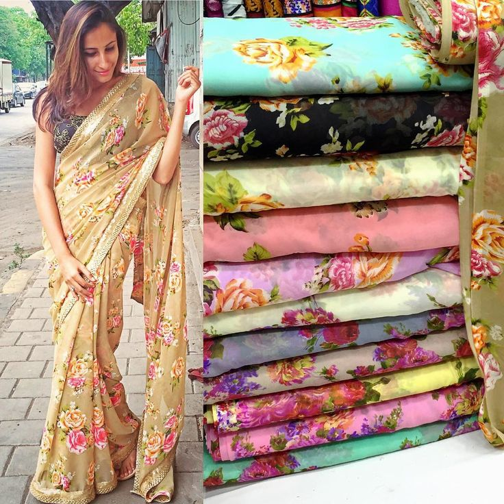 Floral georgette saree available in multiple colour option pick your favorite before its Out of stock