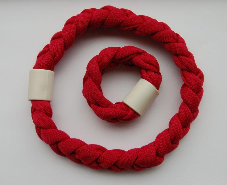Necklace and bracelet in cotton-ceramics- www.scicche.it