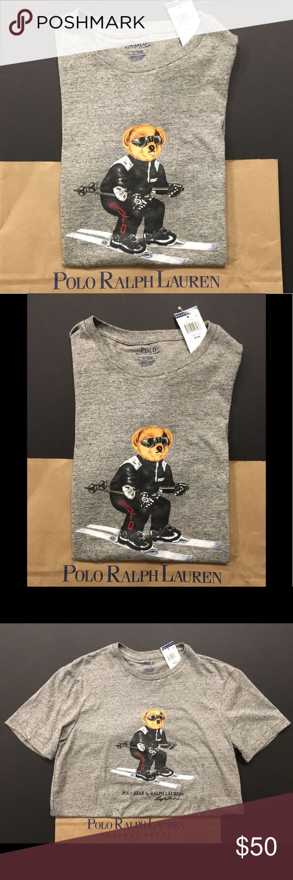 Ralph Lauren Polo Bear Ski Bear T Shirt THESE ARE MY PHOTOS TAKEN BY ME  Limited Edition, sold out everywhere!  Up for sale is one Brand New Men's Polo Ralph Lauren Polo Bear Ski Bear T-Shirt, Item comes brand new with tags!  I have Small, Large, and XL  100% Authentic Polo Ralph Lauren  Polo Bear Logo on Front  Gray  100% Cotton  FAST SHIPPING! Polo by Ralph Lauren Shirts Tees - Short Sleeve