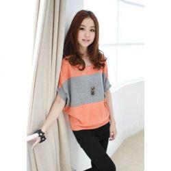 $6.62 Plus Size Batwing Short Sleeve Stripes Cotton T-Shirt For Women