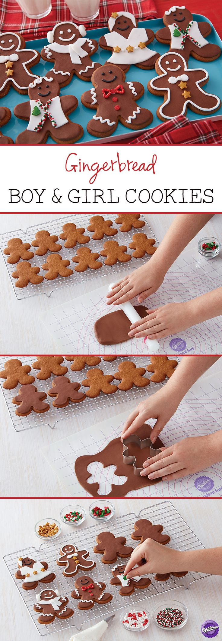 It's easy to create different boy and girl gingerbread cookies using fondant! These gingerbread cookies will be fun to decorate for kids of all ages.