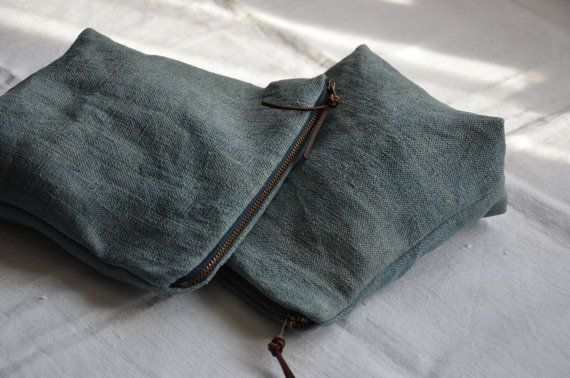 Ethical Life Store: Handmade minimalist style wash bag created from my naturally dyed and antique handwoven fabric. Heavyweight chunky linen dyed to a beautiful