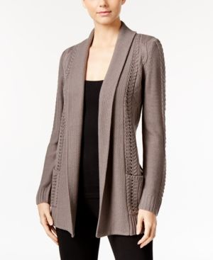 Ny Collection Petite Cable-Knit Open-Front Cardigan - Gray P/L