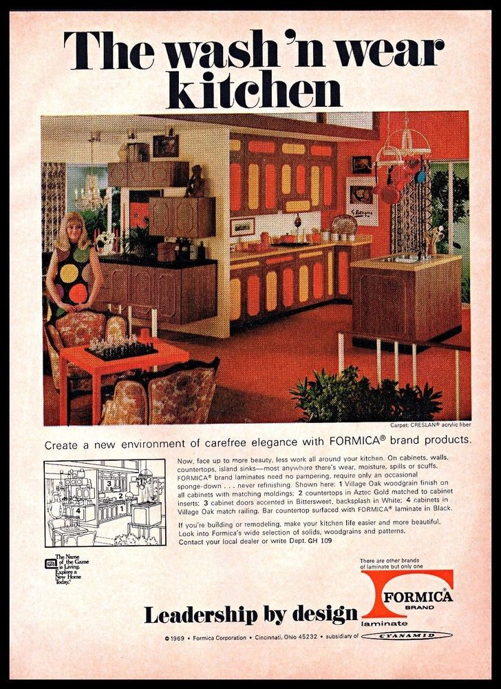 1969 Formica Brand Laminate Kitchen Cabinets Design Decor