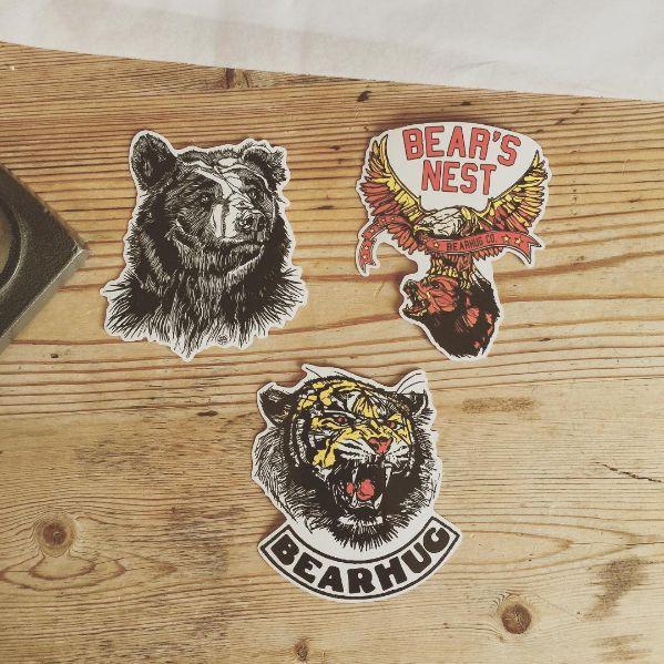The Bearhug Co - sticker pack  #stickers #bear #eagle #tiger #illustration #lukedixon #thebearhugco