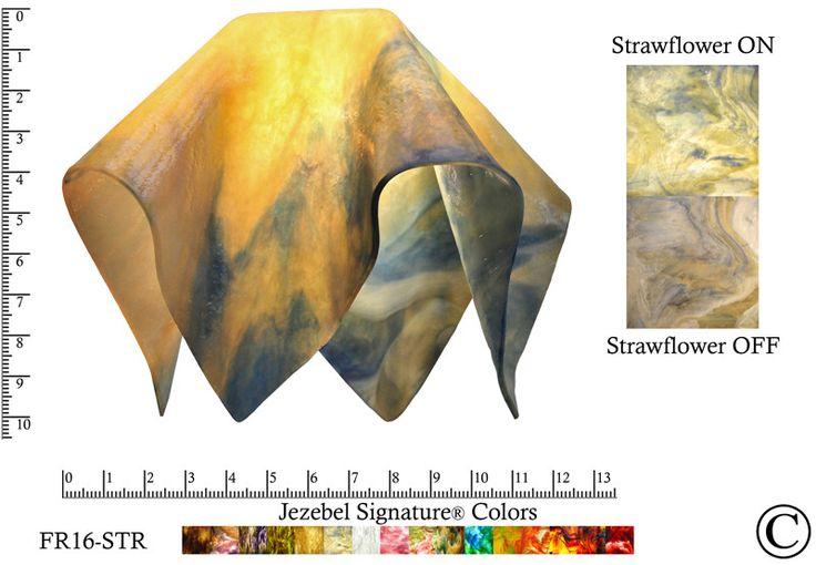 "Jezebel Signature® Large Flame Strawflower Glass Pendant Replacement Glass Shade, 1 5/8"" hole"
