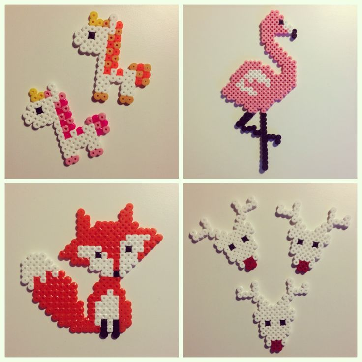 Design by saraseir. hama fox, flamingo, mylittlepony, deer