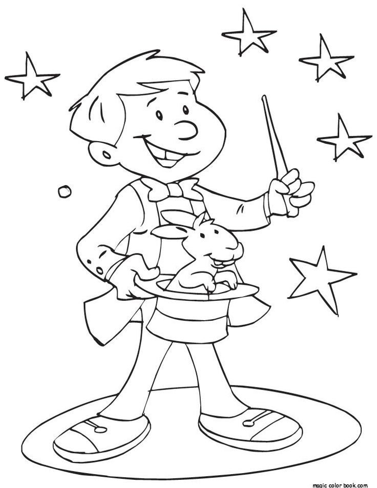 Magician coloring pages ~ magician free printable coloring pages | Magic crafts ...