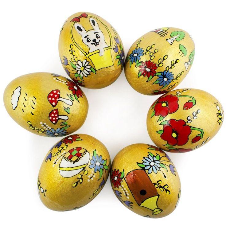 Set of 6 Golden Farm Ukrainian Wooden Decorative Easter Eggs picclick.com