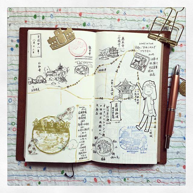 #金閣寺 #竜安寺 #仁和寺 #きぬかけの路 #北野天満宫 #千本釈迦堂 #日本旅行 #日本旅行記 #手帐 #illustrate #illustration #kyoto #techo #travelersnotebook #travelersfactory #postmark #techo #theydrawandtheytravel