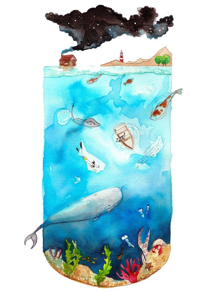Fondo marino Illustration, Art, Watercolor, Draw, Ilustración