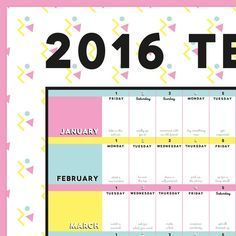 2016 Terrific Project Year Wall Planner