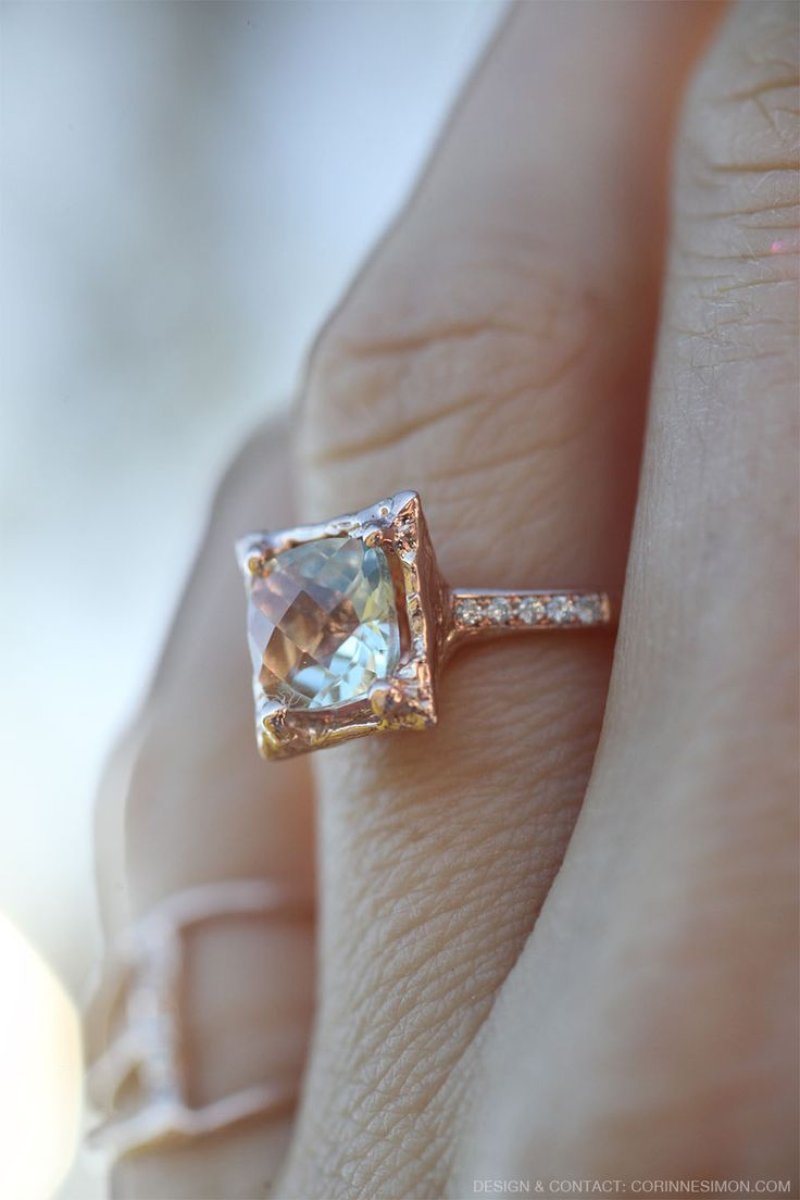 Green Amethyst And Diamond Rose Gold Ring Beautiful Alternative Engagement  Ring