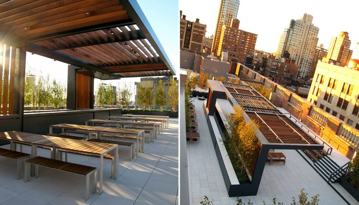 This elegant roof deck creates a hybrid work and entertainment space atop the Manhattan office building of Grey Group, a leading advertising firm. It features three distinct but interconnected zones that satisfy a variety of needs, from private conversations