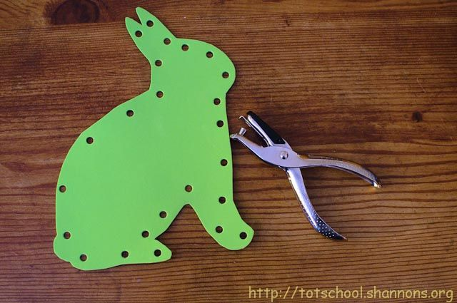 Homemade lacing cards out of foam craft sheets.