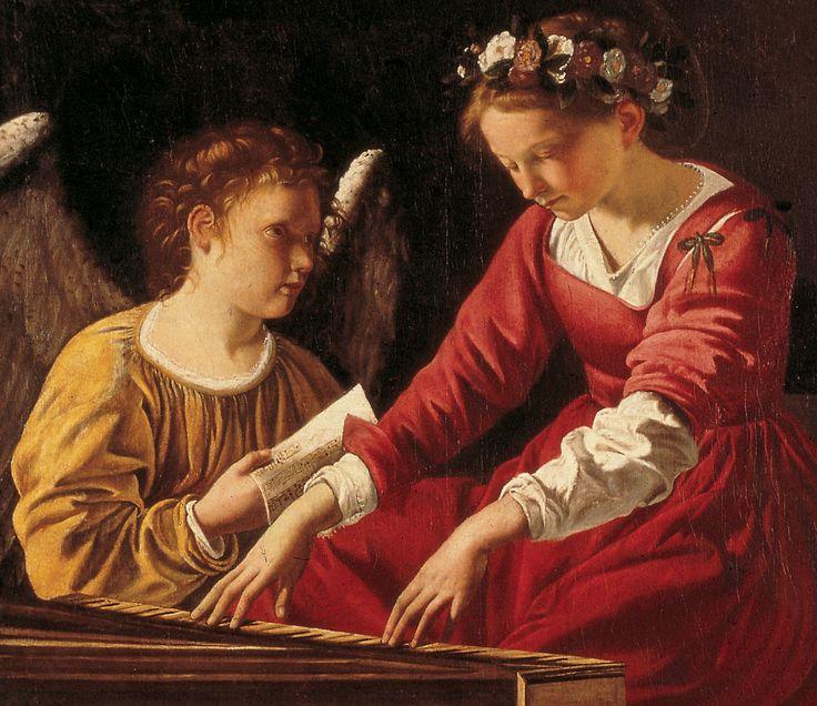 Orazio Lomi Gentileschi (1563-1639) — Saint Cecilia and an Angel (1200×1038)