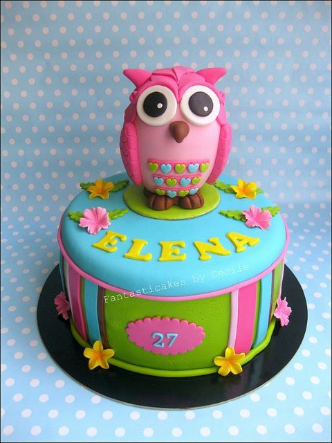 @Kathleen DeCosmo ♡❤ #Cake ❥  Fantasticake #Owl Cake Pink Hoot Owl Cake Owl Cake — Children's Birthday Cakes party Girl Boys Kid Kids
