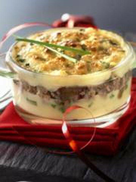 Parmentier+de+farce+aux+marrons+glacés+et+écrasé+de+pommes+de+terre