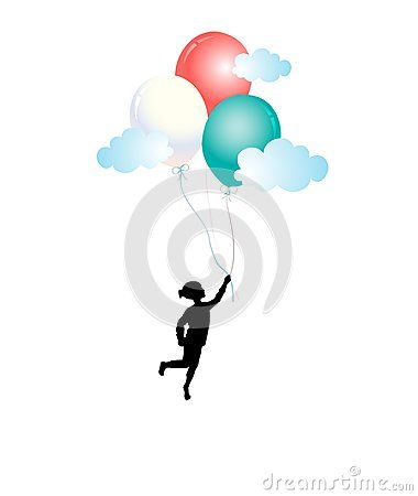 Girl silhouette flying and holding colorful balloons, over the clouds, isolated on white background vector illustration icon.