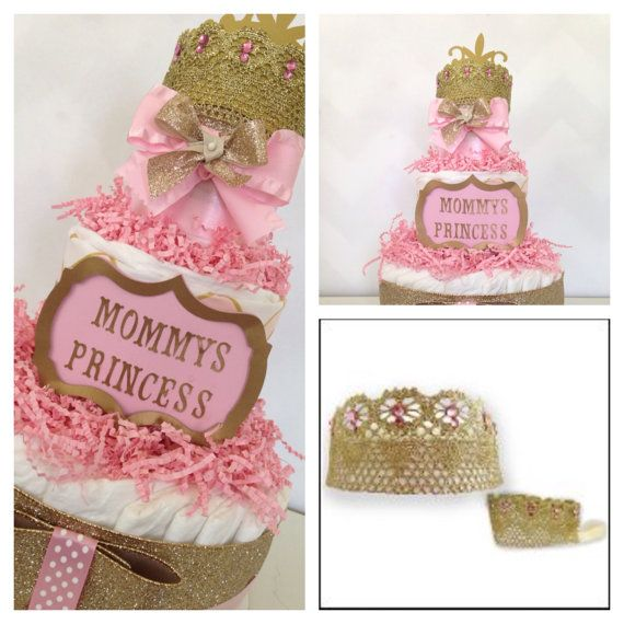 mommyu0027s little princess diaper cake princess baby shower centerpiece pink and gold on etsy