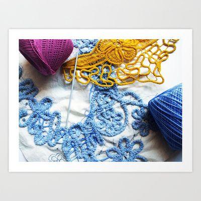 Romanian Point Lace Blue Lace Photography  Art Print by BaleaRaitzART - $38.48