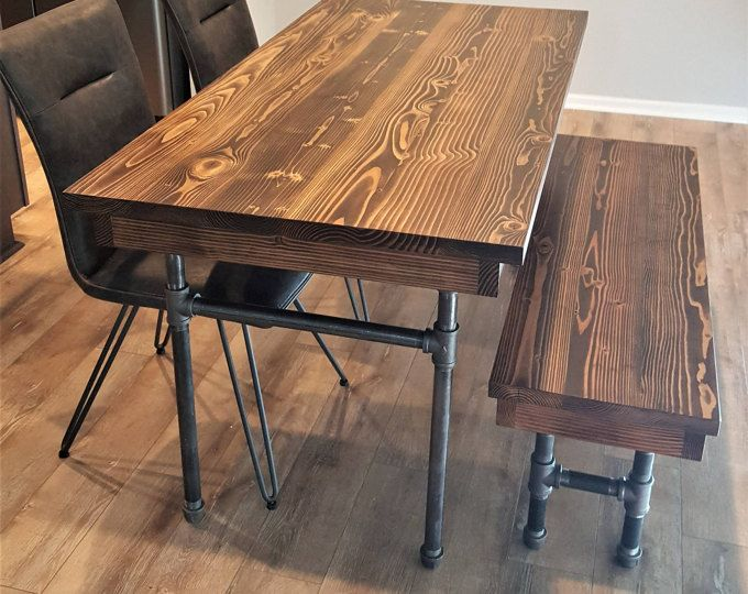 Industrial Pipe Dining Table with matching Pipe Bench Jacoby Edition Dinning room decor Pinterest