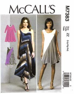 McCall's Sewing Pattern 7383 Misses Size 16-26 Easy Knit Pullover Dress Seam Details -- McCall's+Sewing+Pattern+7383+Misses+Size+16-26+Easy+Knit+Pullover+Dress+Seam+Details