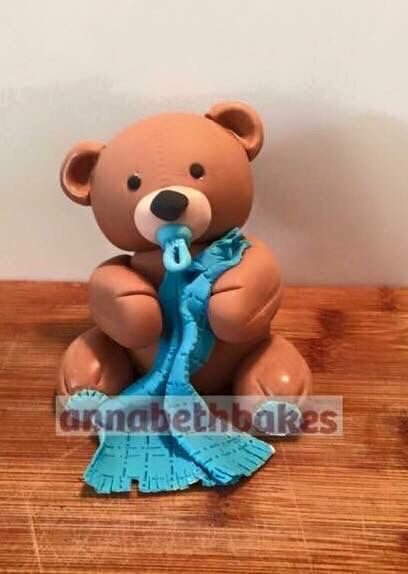Bear with blanket and dummy - annabethbakes