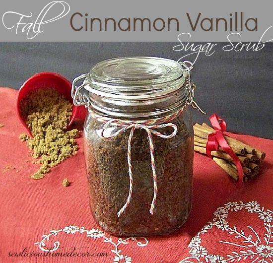 Vanilla Cinnamon Sugar Scrub made with coconut oil. Free Printable #sugar #scrub sewlicioushomedecor.com