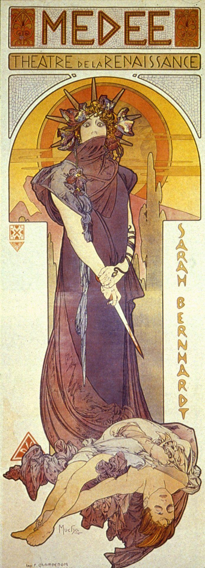 Poster for Medee (Medea) starring Sandra Bernhardt (1890) by Mucha