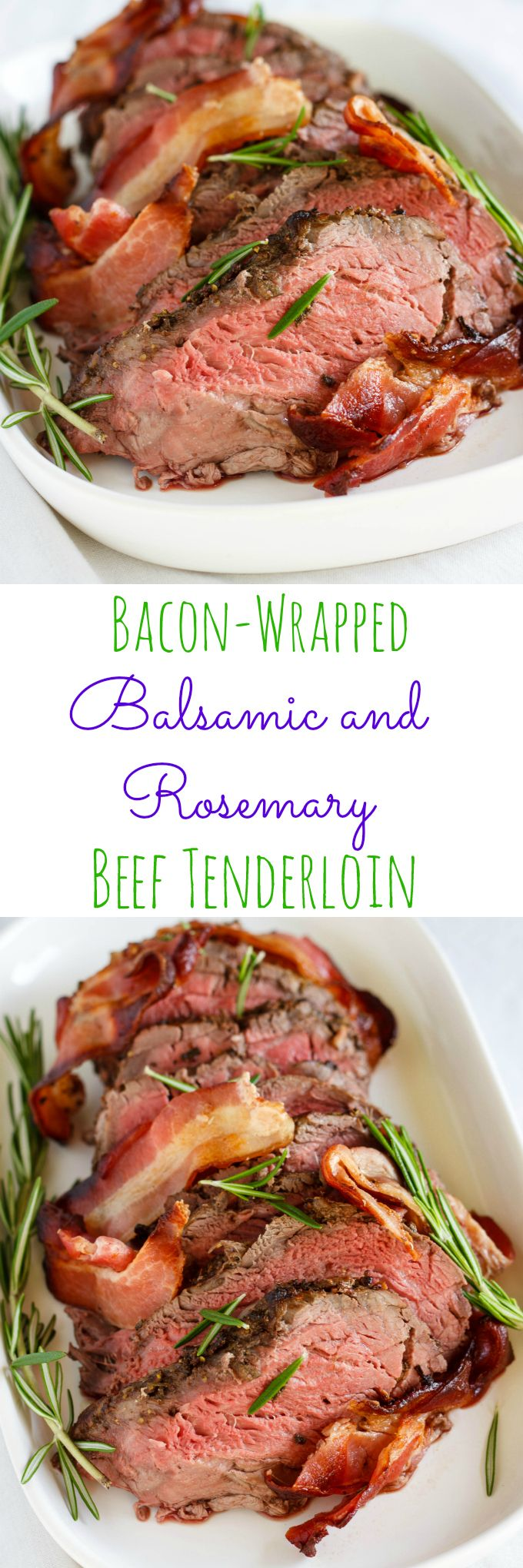 Bacon-Wrapped Balsamic and Rosemary Beef Tenderloin | http://thecookiewriter.com | #beef #rosemary #Thanksgiving #dinner #bacon