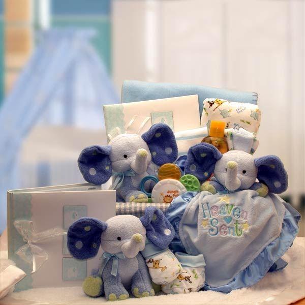 Baby Elephants Gift Basket For Boys