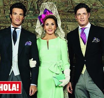 Former Duchess of Feria Naty Abascal and her dashing two sons (L)Rafael and (R)Luis Medina