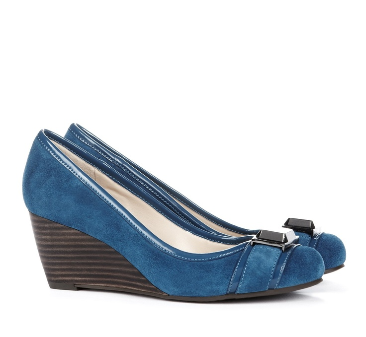 Margaret via Sole Society >> Love the color and height!Blue Wedges, Margaret Buckles, Buckles Details, Details Wedges, Blue Shoes, Buckles Wedges, Buckles Suede, Society Margaret, Sole Society