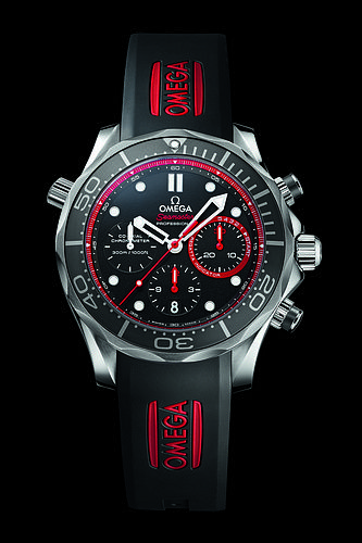 "♂ Man's fashion accessories watch black and red Omega Seamaster 300m Diver ""ETNZ"" Limited Edition"