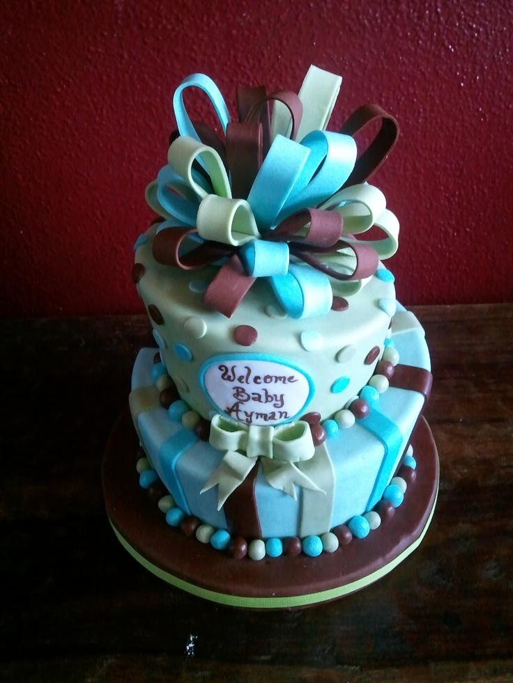 Blue Green Brown Baby Shower Cake | Baby shower ...