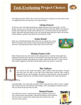 Tuck Everlasting Worksheets | Tuck Everlasting Reading Creative Projects, Activities and Rubric