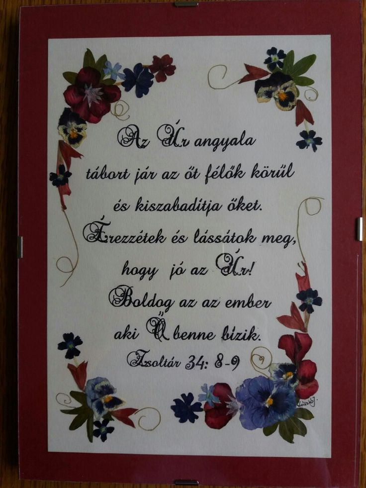 CUSTOM ORDER- Pressed flower picture- Psalms 34:8-9, hungarian