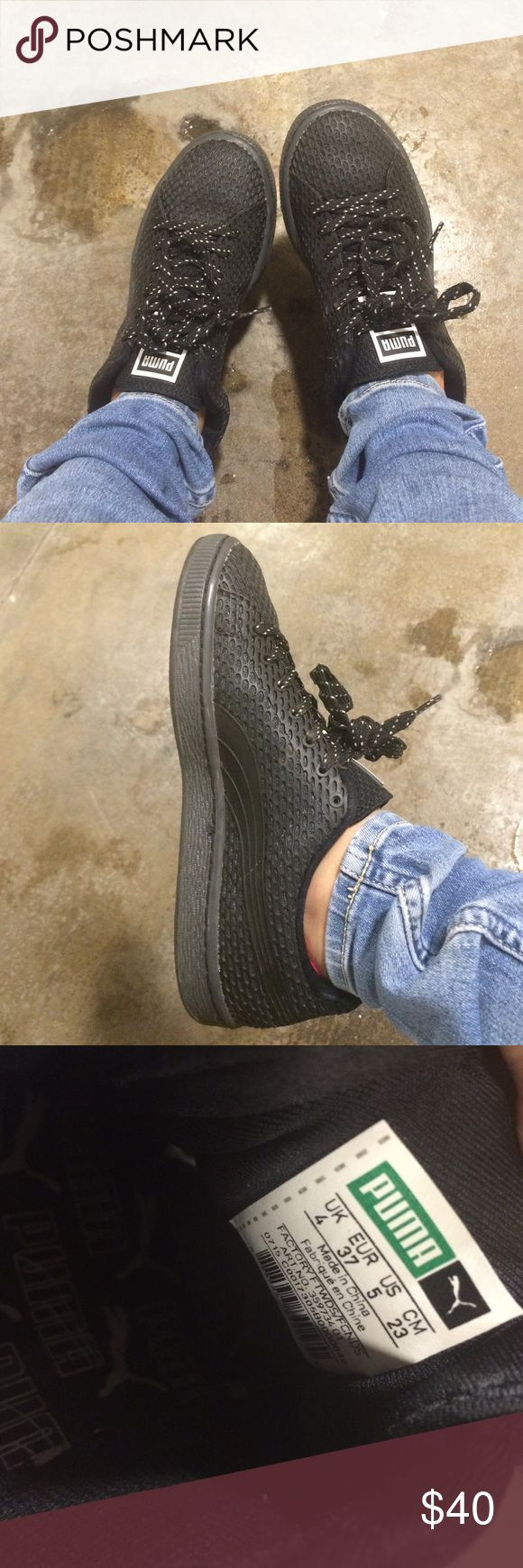 Puma Classic Black Rubber Sneakers. only worn a couple times, still in great condition no wear on soles or inside, size US on women is 5 but they fit kind of big so it fits like a 5.5 or 6. Puma Shoes Sneakers