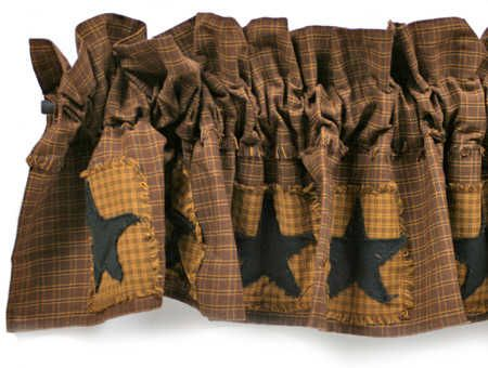Primitive star patchwork valance will add a touch of country charm to your home. Homespun fabric primitive patchwork curtain valance with appliqued black stars.