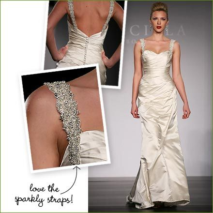 Wedding Ideas : Wedding Dresses - Rock and Roll Meets Glam  Rock and roll meets ultra glamorous with this dress by Priscilla of Boston - I love everything about this dress. The ruching in the middle, the sweetheart neckline, and the oh-so-sparkly straps are all just right.
