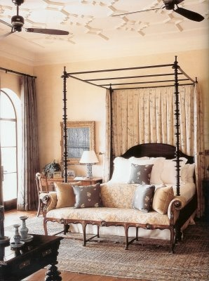 Michael S. Smith: Soft, elegant bedroom designed by Michael S. Smith from  SANTA BARBARA LIVING